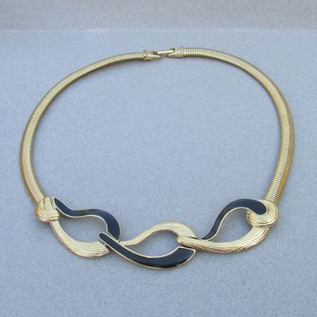 TRIFARI Signed 1980's Black Enamel on Gold Tone Omega Necklace