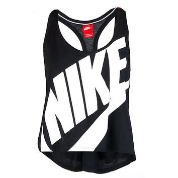 NIKE SIGNAL CROPPED TANK TOP - Black - NIKE