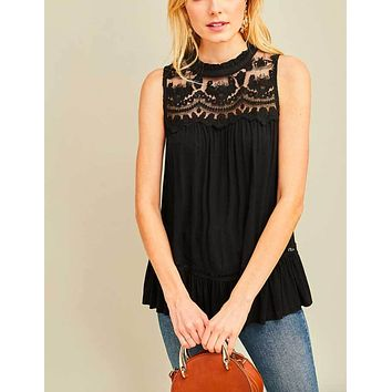 Lace Mock NeckSleeveless Top