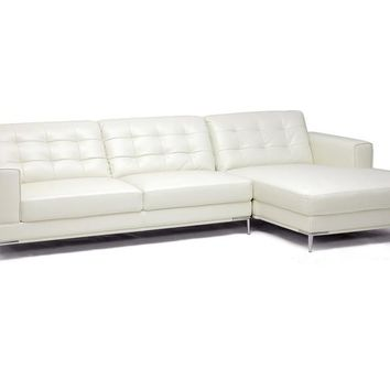 Baxton Studio Babbitt Ivory Leather Modern Sectional Sofa Set of