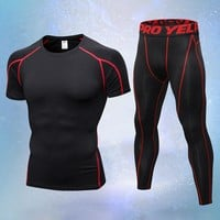 Men's Compression Run jogging Suits Clothes Sports Set Elastic t shirt And Pants Gym Fitness workout Tights clothing 2pcs/Sets