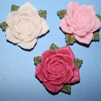 Sweetly beautiful rose cabochons trio  3 piece by MottoMiquette