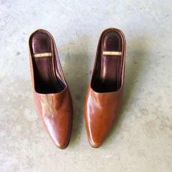 90s Brown Leather Mules Modern Slip On High Heel Pumps Minimal Leather Slides Sexy Office Slip Ons Pointy Toes Open Heels Mules Womens 8.5