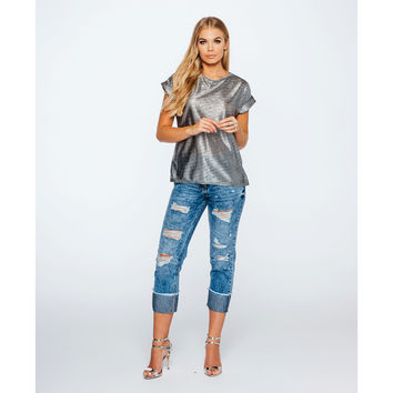 Distressed Roll Up Cropped Denim Jeans (Women's)