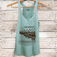 Astral Teepee - womens tri-blend racer back jersey tank top - Modern Tribal Print in black - by Bark Decor