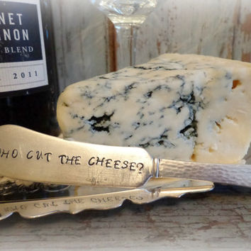 hand stamped antique silverplate cheese spreader / who cut the cheese? / vintage cheese marker butter knife / humorous party gag gift
