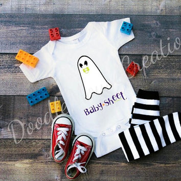 baby sheet infant bodysuit, Halloween, ghost, baby, holiday pun, pun, halloween costume, joke, funny infant shirt, comedy bodysuit