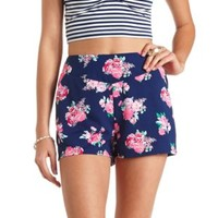 Floral Print High-Waisted Shorts by Charlotte Russe - Navy Blue