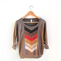 Geo Arrows HAND STENCILED Slouchy Eco Heather Deep Scoop Neck Lightweight Sweatshirt in Fire and Brown - S M L