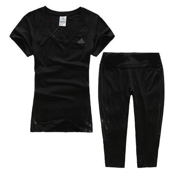Trendsetter Adidas Woman Gym Sport Yoga Embroidery Top Cami Pants Trousers Set Two-Pie
