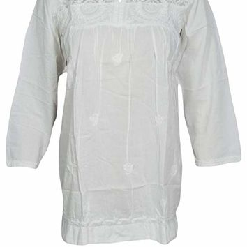 3a722469726 Mogul Interior Womens Boho Blouse Tunic Embroidered Cotton Peasa