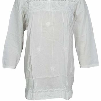 Mogul Interior Womens Boho Blouse Tunic Embroidered Cotton Peasant Tops S/M/L (White): Amazon.ca: Clothing & Accessories