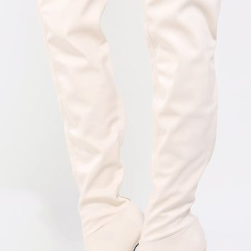 Qupid Interest-118 Peep Toe Thigh High Boots