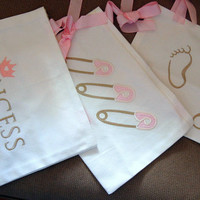 NEW PRICE 30% OFF Baby Embroidered Nappy stacker,  Baby Bed Pocket Bags 10x14inch (25x35cm) for all baby designs