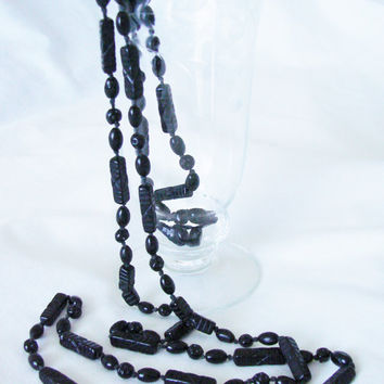 Art Deco Black Glass Bead Necklace / Flapper Length / French Jet / Hand Knotted / Vintage Jewelry / Jewellery