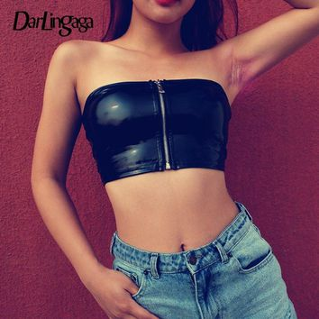 c00fd45ec431f3 Darlingaga Streetwear punk black PU leather top women strapless bandeau  zipper sexy cropped tube top 2019