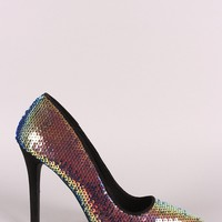 Qupid Hologram Sequins Pointy Toe Stiletto Pump