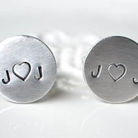 Personalized handstamped cufflinks - you heart me keepsake cufflinks for the groom and groomsmen