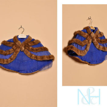 Vintage 1930s Dark Blue Capelet with Sable Mink Stripes