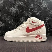 Nike Air Force 1 Mid AF1 Rice / White / Red Sport Shoes - Best Online Sale