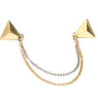 Pyramid Stud Chains Collar Necklace Pin Punk Gold Tone NK00 Brooch Statement Fashion Jewelry
