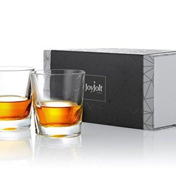 JoyJolt Carina Crystal Whiskey Glasses Old Fashioned Whiskey Glass set 84 Ounce Ultra Clear Crystal Scotch Glass for Bourbon and Liquor Set Of 2 Nonleaded Crystal Glassware