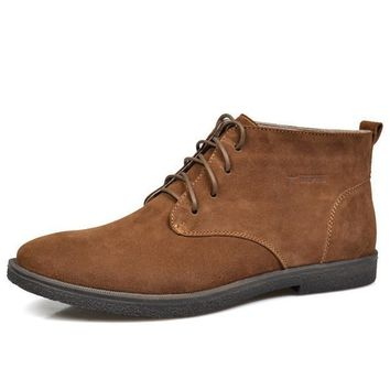 Nubuck Leather Casual Lace Up Desert Chukka Ankle Boot