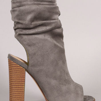 Liliana Suede Slouchy Open Toe Chunky Heel Boots
