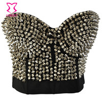 Striking Metallic Luster Studded Rivet Bra Bustier Underwear Women Steampunk Bras Bralette Push Up Sujetador One-Piece Brassiere
