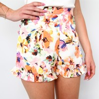 sale FESTIVAL FLORAL FRILL RUFFLE HEM HIGH WAISTED BLOOMERS SHORTS 6 8 10 12