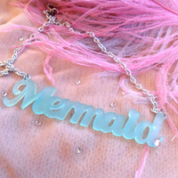Seafoam Acrylic Mermaid Necklace
