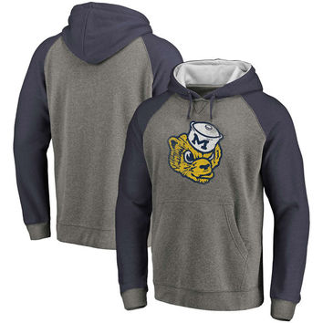 Michigan Wolverines Fanatics Branded Vault School Logo Raglan Sleeve Tri-Blend Pullover Hoodie - Gray/Navy
