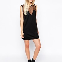 Daisy Street Shift Dress with Sheer Panels at asos.com