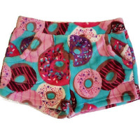 Candy Pink Super Soft Fleece Shorts Turquoise Donut