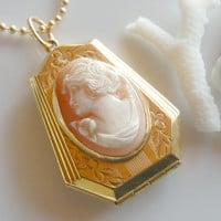Vintage Cameo Locket Necklace - Antique Coffin Locket - Hand Carved Shell Cameo Pendant and Chain
