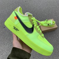 "[Free Shipping ]OFF-WHITE x Nike Air Force 1 ""Volt""AO4606-700  Basketball Sneaker"