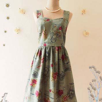 English Rose : Rustic blue floral dress party dress whimsical sundress vintage inspired dress summer dress tea party dress- xs-xl, custom