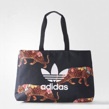 adidas Originals Tote Bag In Black Flower Leopard Print
