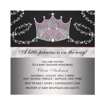 Pink Black Tiara Baby Girl Princess Baby Shower Custom Invites from Zazzle.com