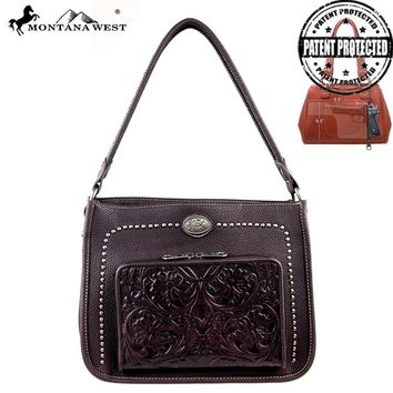 MW169G-116 Montana West Tooling Collection Handbag with Wallet-Coffee