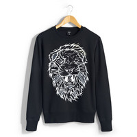 BW Lion Warrior Black Crew Neck Sweater