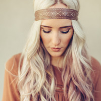 Scalloped Leather Headband