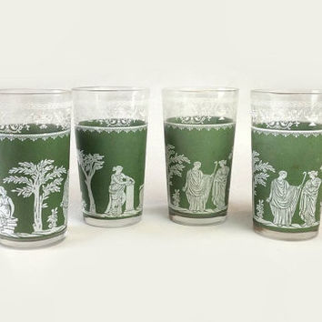 Jeannette Hellenic Green Water Glasses, Wedgwood Jasper Vintage Glass Tumblers, Grecian Scenes, Set of 4 Drinking Glasses