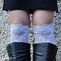 Lace Boot Cuff, wellies boot cuff , lace leg warmers,  White Strech Lace Short Boot Cuff ,  white color