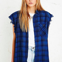 Vintage Renewal Sleeveless Flannel Shirt in Blue - Urban Outfitters