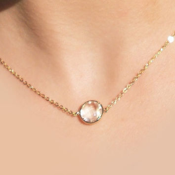 Mist Pop 16K Gold Plated Stacking Necklace - BridesMaid Gift - Gemstone Necklace - Clear Stone Necklace