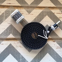 New Super Cute Jeweled Black & White ZigZag Designed USB Wall Connector + 6ft Flat Black Braided iphone 5/5s/5c Cable Cord