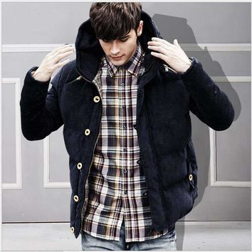 Thickening  Hooded Men's Clothing Of Cotton-Padded Jacket To Keep Warm Winter Youth Corduroy Cotton-Padded Clothes Men's Jacket