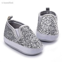 2018 Silver Bling PU Leather Shoes (Newborn to first walkers