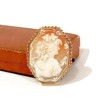 Antique Shell cameo Brooch, 14k Gold, Greek Goddess Bacchante, Goddess Of Wine, Grape Leaves, Octagon Shape, Framed, Brooch Pendant, 1800s